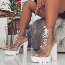 ANNYMOLI Women Shoes Autumn Ankle Boots Transparent Platform Thick Heels Short Boots Lace Up Extreme High Heel Lady Shoes 36-41 стоимость