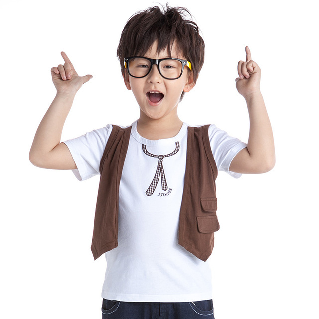 boys designed t  shirts short sleeve kids false two tees fashion kids print t-shirt 2015 summer child shirts