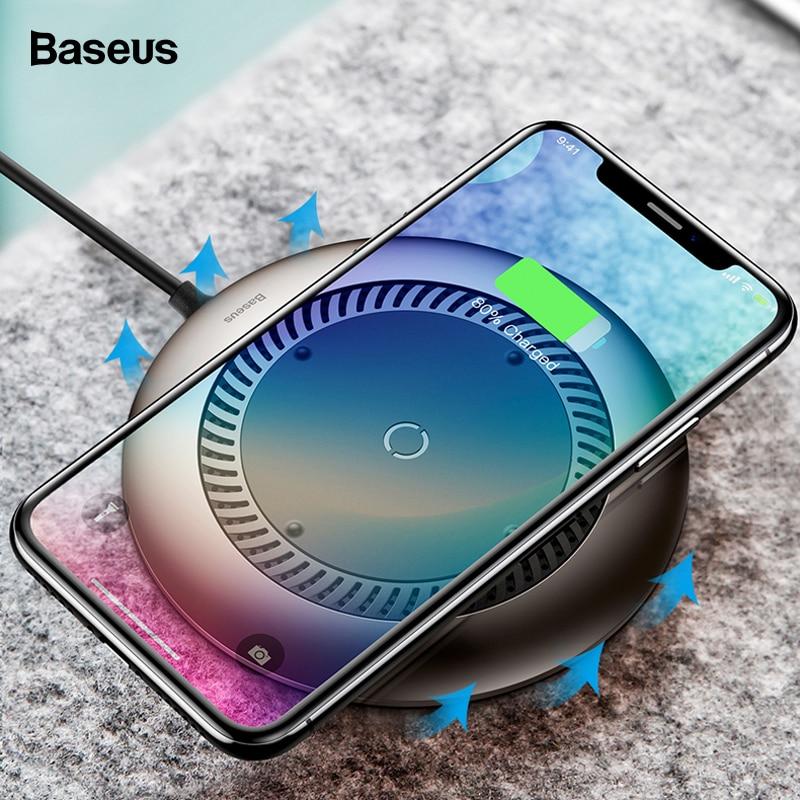 Chargeur sans fil Baseus Tornado ventilateur silencieux automatique rayonnant Qi chargeur de charge sans fil pour iPhone X 8 Samsung S9 S8 Huawei