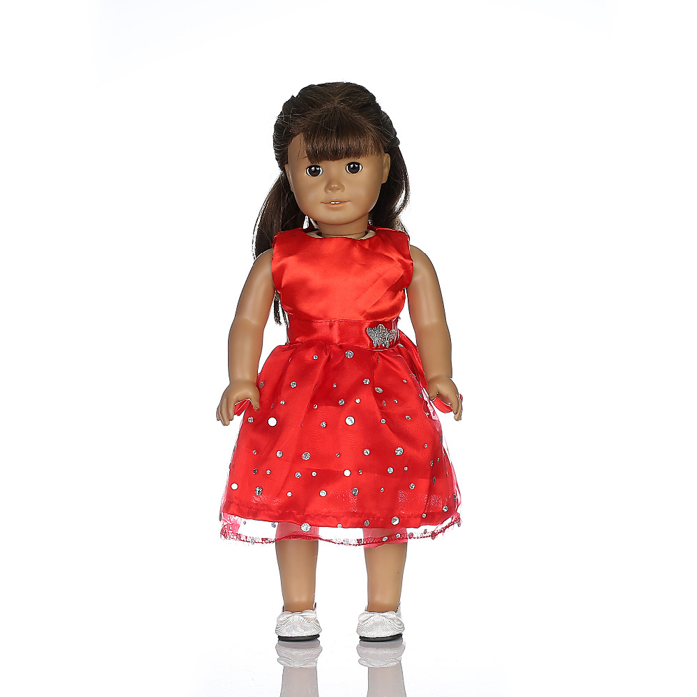 Hot sale popular red dress&Full dress fit 18 inch American girl doll\doll accessories children's best gift (only sell clothes)b1 9 colors american girl doll dress 18 inch doll clothes and accessories dresses