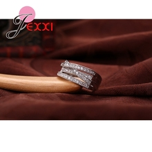 JEXXI 2018 Simple Wedding Rings For Women Shiny Elegant Cubic Zircon Jewelry 925 Sterling Silver Anniversary Engagement Ring