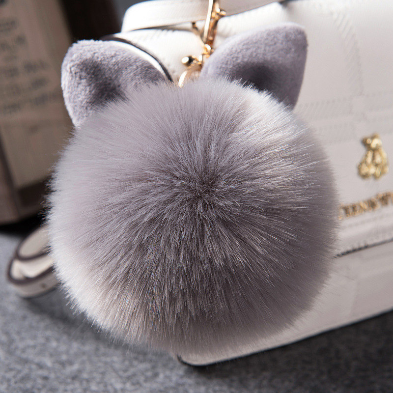 Ears Faux fox Fur Ball Keychain fur pom pom for monchichi Key chain car bag hanging Charm pendant keyring porte clef Key Holder