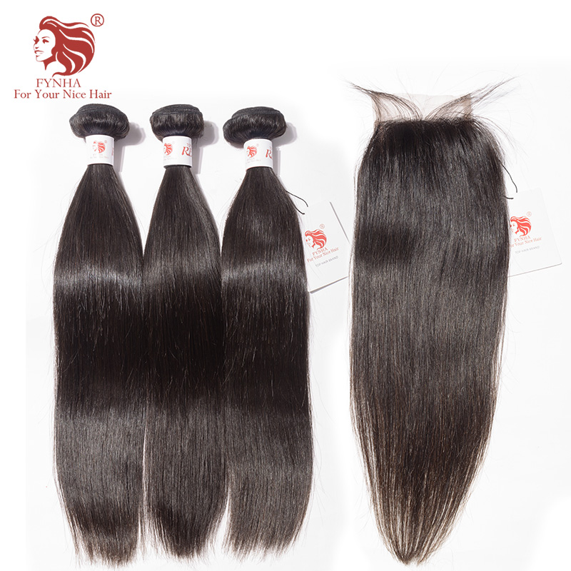 [FYNHA] Straight Brazilian Hair Weave 3 Bundles with Closure Natural Black Remy Human Hair Extension For Your Nice Hair