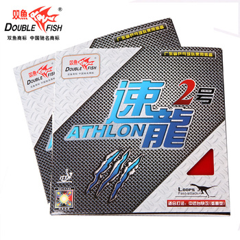 цена на 4pcs Double Fish ATHLON 2 High Bounce Elastic Inner Power Hitting Table Tennis Racket Rubbers Pingpong Racket Tyre With Sponge