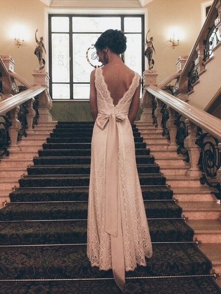Romantic 2018 Lace Scoop Backless Sleeveless Floor Length Applique Ribbon Sheath Bridal Gown vestido de noiva   bridesmaid     dresses