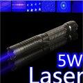 Высокой мощности синий лазерный указатель 500000 МВт 500 Вт 450nm Фонарик горящая спичка/бумага/сухая древесина/свечи/черный/запись сигареты 5 колпачки