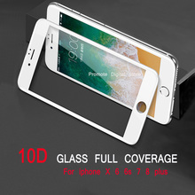 10D Tempered Glass For iPhone 6 7 8 X Curved Edge Full Cover Screen Protector Glass On the For iPhone 6 6s 7 8 X Plus Glass film цены