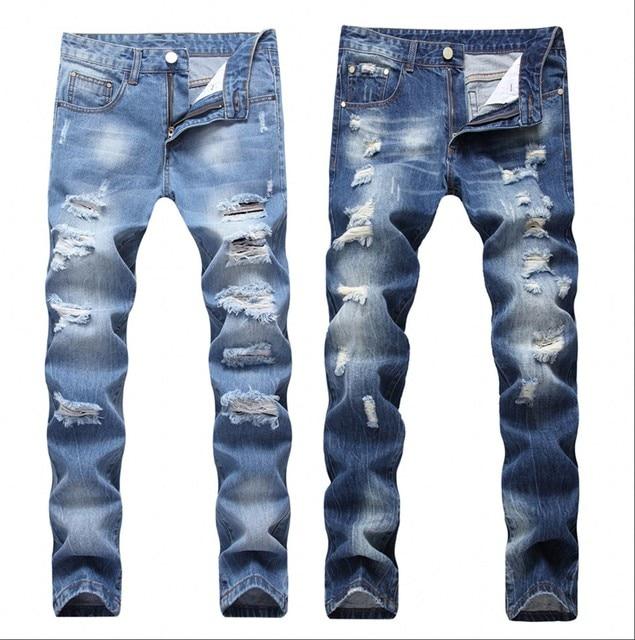 5bfb8c295 Aliexpress.com: Comprar 2018 nuevos pantalones vaqueros rasgados de retales  para hombre con diseño de mendigo recortados para hombre Vaqueros Demin ...