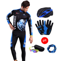 VEOBIKE 2018 Hot Sale Long Cycling Sets Winter Thermal Fleece MTB Clothes Bicycle Clothing Pro Team Mountain Bike Jersey Set Men