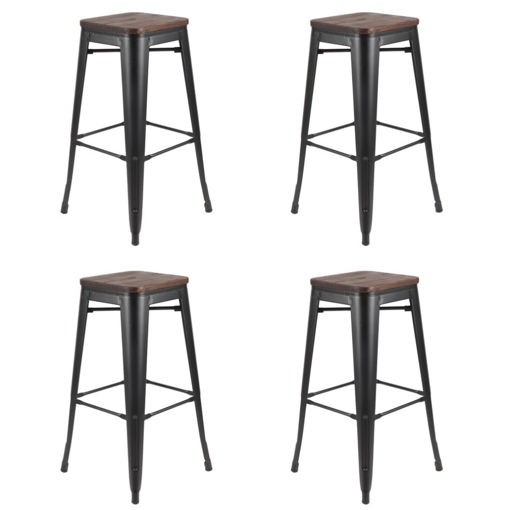 все цены на 4pcs Comfortable Industrial Bar Versatile Stool Seat Breakfast Kitchen Bistro Cafe Classic Chair Home Furniture