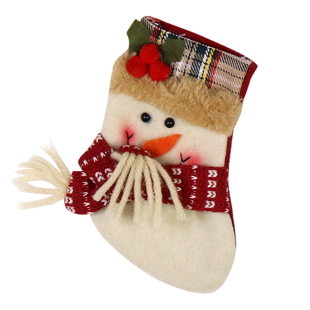 New Arrive Santa Claus Snowman Christmas Stockings Decoration Tree Ornaments Christmas Candy Bags Gift Holders for Childrens A09