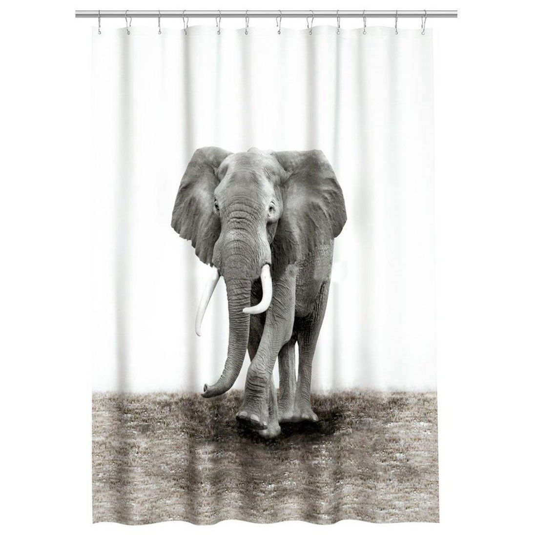 Shower Curtain Natural World Elephant Design Bathroom Waterproof Mildewproof Polyester Fabric With 72 Inch 12 Hooks