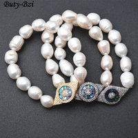 Pavimentada CZ e Abalone Shell Metal Charme Olho Natural Fresco Pérola Água Beads Elastic Linha Pulseiras Jóias Presente Do Partido