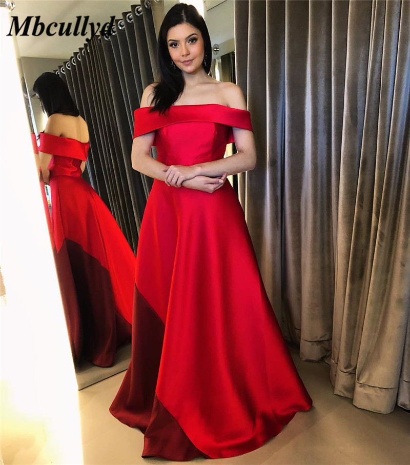 Mbcullyd Elegant Off Shoulder Red Prom Dress 2019 With Pockets Satin Long Dresses Evening New Cheap Plus Size robe de soiree