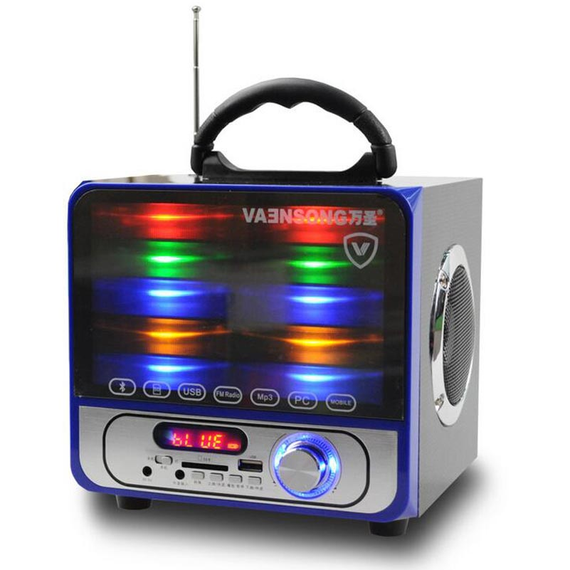 VAENSONG Portable Stereo Bluetooth Speaker 2.1 Subwoofer Can Play TF Card And USB And FM Radio