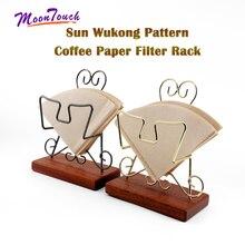 Espresso Coffee V60 Filter Paper Holder Sun Wukong Pattern Wooden Rack Shelf Storage Tool