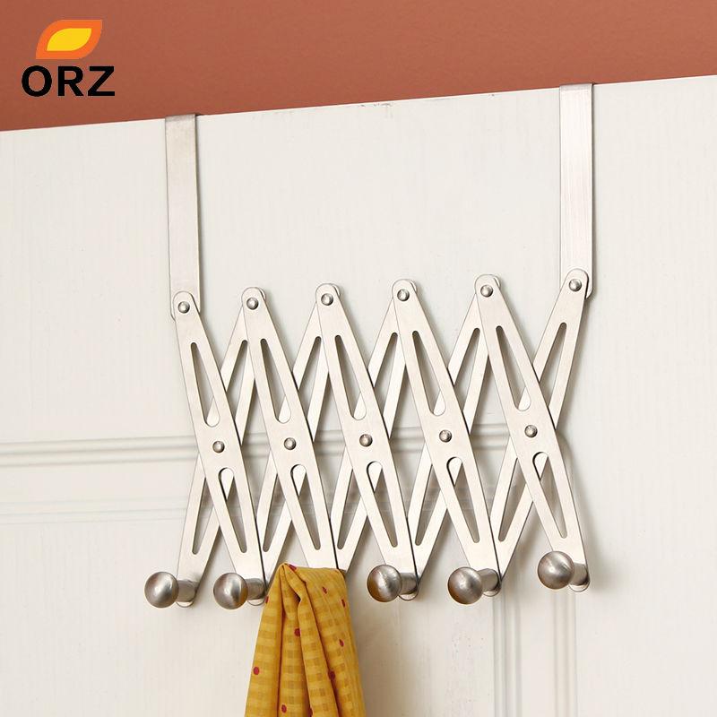 ORZ 6-Hook Flexible Back Door Hanger Rack Bathroom Kitchen Organizer Hanger Hooks Home Storage Rack And Holder Clothes Organizer