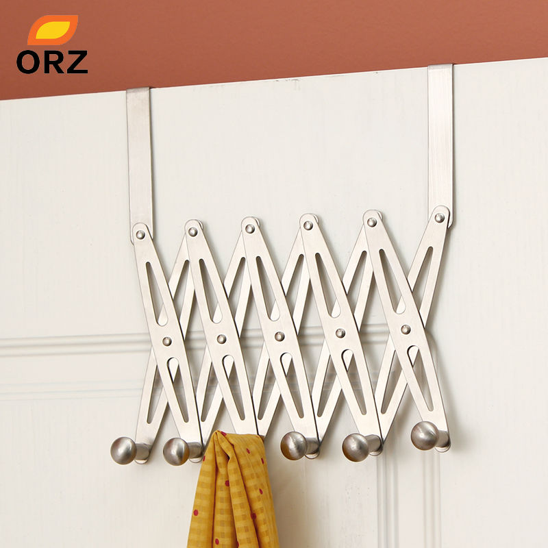 ORZ 6-Hook Flexible Back Door Hanger Rack Bathroom Kitchen Organizer Hanger Hooks Home Storage Rack And Holder Clothes Organizer