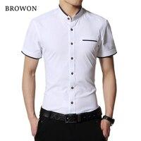 BROWON Brand New Fashion Summer White Shirt Men Short Sleeve Shirt Slim Fit Stand Collar Solid