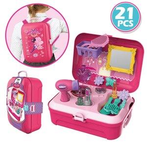 Image 3 - להעמיד פנים לשחק איפור סט יופי אופנה בנות צעצוע קוסמטי סט עם אחסון תרמיל עמיד יופי ערכת שיער סלון עבור בנות