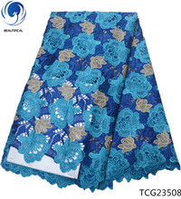 BEAUTIFICAL african lace fabrics guipure cord for party with rhinestones blue 5 yards/piece TCG235