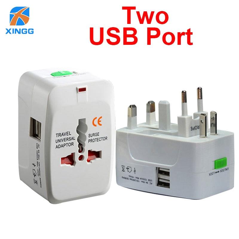 2 USB Charging Port Internationl World Plug Adaptor Electrical Universal Travel Adapter Power Converter Plug for US EU UK AU JP