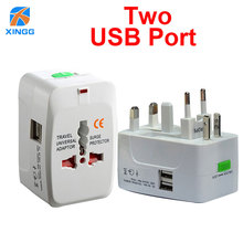 "2 USB טעינת נמל בינלאומי ל עולם תקע מתאם חשמל אוניברסלי נסיעות מתאם חשמל תקע ארה""ב האיחוד האירופי בבריטניה AU JP"