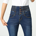 Pantalones Vaqueros de Cintura alta de Algodón Delgado Moda Mujer de Talla grande Los Pantalones Vaqueros Denim Lápiz Pantalones Largos de Color Azul Negro Skinny Jeans Mujer Size26-40