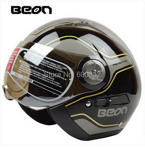 Authentic BEON fashion security double lens Vintage half face motorcycle helmet ABS keep warm motorbike helmets B216 size M L XL