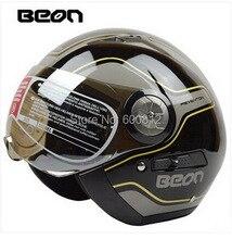 Аутентичные BEON мода безопасности с двойным линзы винтаж пол-лица мотоциклетный шлем ABS согреться шлемы мотоцикла B216 размер ml XL