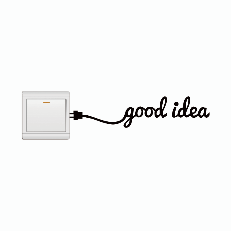 KG-92 Creative Good Idea Charger Lead Light Switch Sticker Funny Vinyl Wall Sticker Home Wallpaper