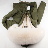 Winter Women Fashion Loose Army Green Pockets Luxurious Real Fox Fur Hooded Parkas Jackets Female Oversize
