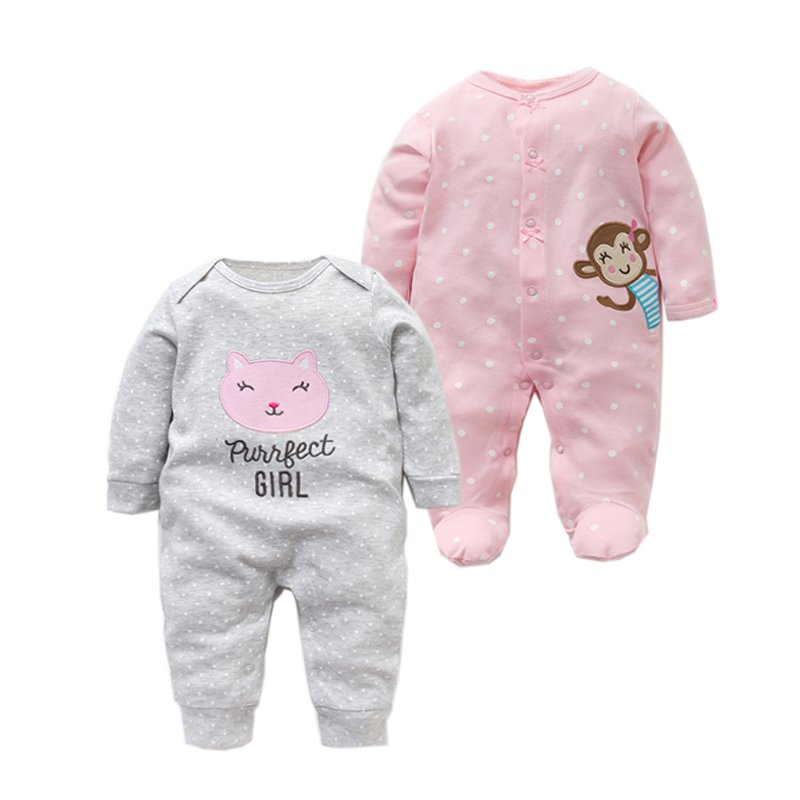 2PC/LOT 2019 New Baby Girl Clothes Newborn   Rompers   Spring Summer 100% Cotton Long Sleeved Jumpsuit Infant 0-12M Baby   Romper