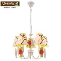 Qiseyuncai Mediterranean pastoral children's room led warm chandelier creative study cute boy bedroom wrought iron lamps