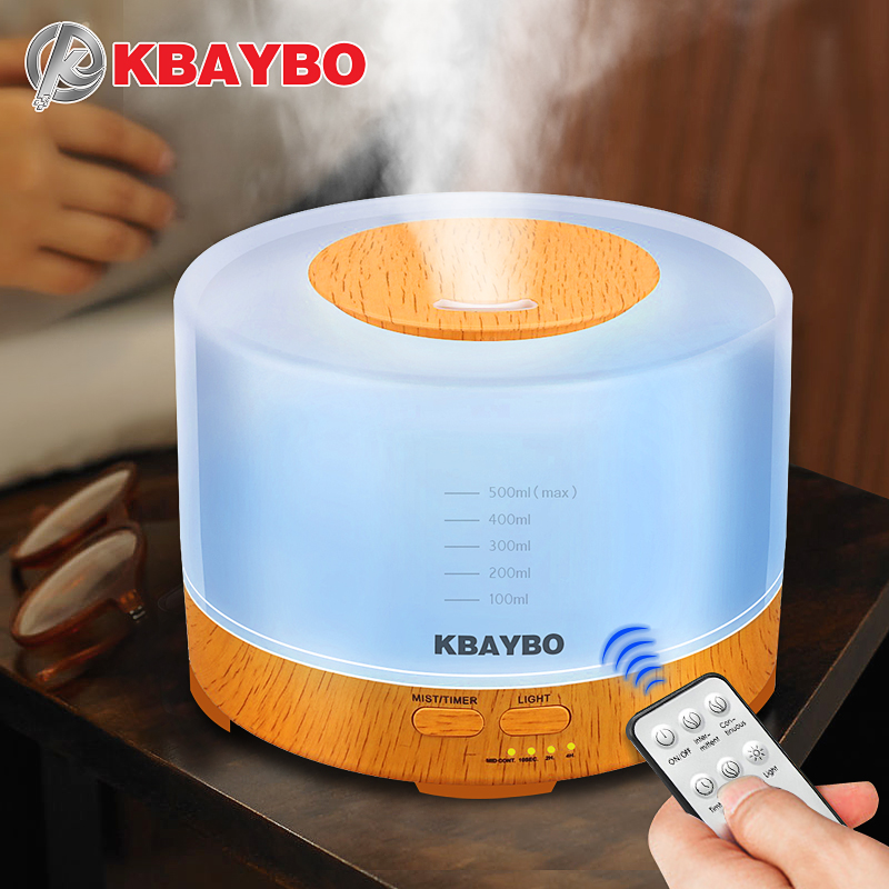 KBAYBO Essential Oil Diffuser 500ml remote control Aroma mist Ultrasonic Air Humidifier 4 Timer Settings LED light Aromatherapy remote control air humidifier essential oil diffuser ultrasonic mist maker fogger ultrasonic aroma diffuser atomizer 7 color led