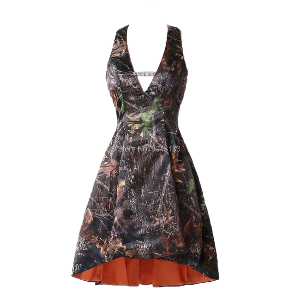 Popular Halter A Line High Low Camouflage Bridesmaid   Prom     Dresses   with Beads Short Backless Camo   Prom   Homecoming Gowns