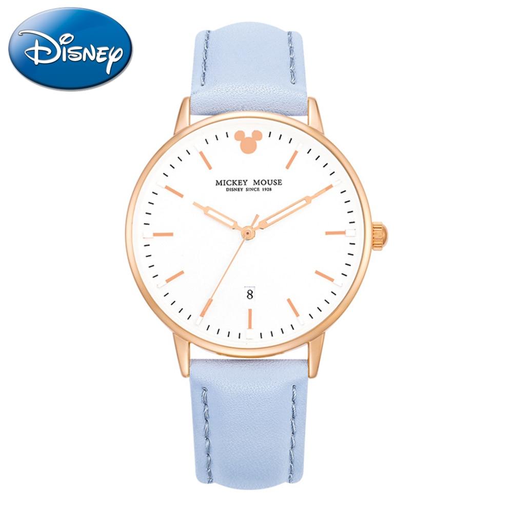 Disney femmes calendrier lumineux mains étanche cuir Quartz Simple mode grandes montres femme amour Mickey Mouse célèbre horloge