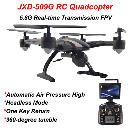 JIN XING DA JXD 509G RC Quadcopter Drone 5.8G FPV With 2.0MP HD Camera Automatic Air Pressure High Headless Mode One Key Return original jjrc h28 4ch 6 axis gyro removable arms rtf rc quadcopter with one key return headless mode drone