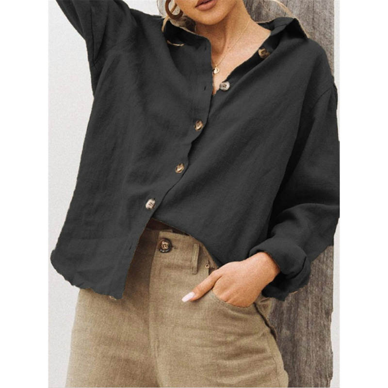 Women Casual Lapel   Shirt   Long Sleeve Single-breasted Loose   Blouse   Spring Fall Ladies Solid Color Tops Office   Shirt