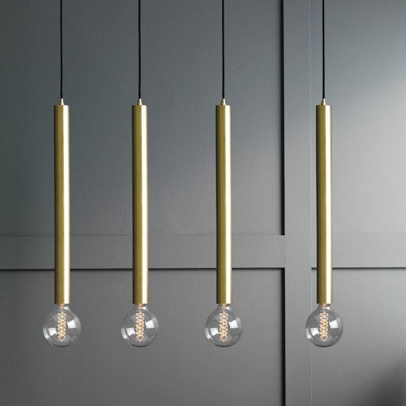 Nordic Gold Suspension Pendant Light Fixture E27 Bedroom Cafe Shop loft industrial lamp Single Head hanglamp