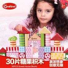 ONSHINE 30pcs/set Wooden Sweet house Building Blocks Set learning & education Girls Toy Children Gift
