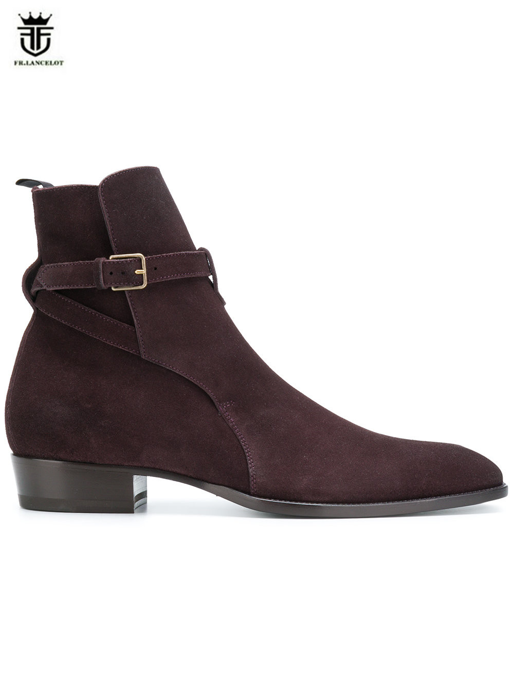 FR.LANCELOT 2018 new fashion men suede leather boots British style men buckle boots slip on party shoes male chelsea booties zosuo men boots buckle desert british male boots leather martin boots tide retro tooling men s shoes zs337