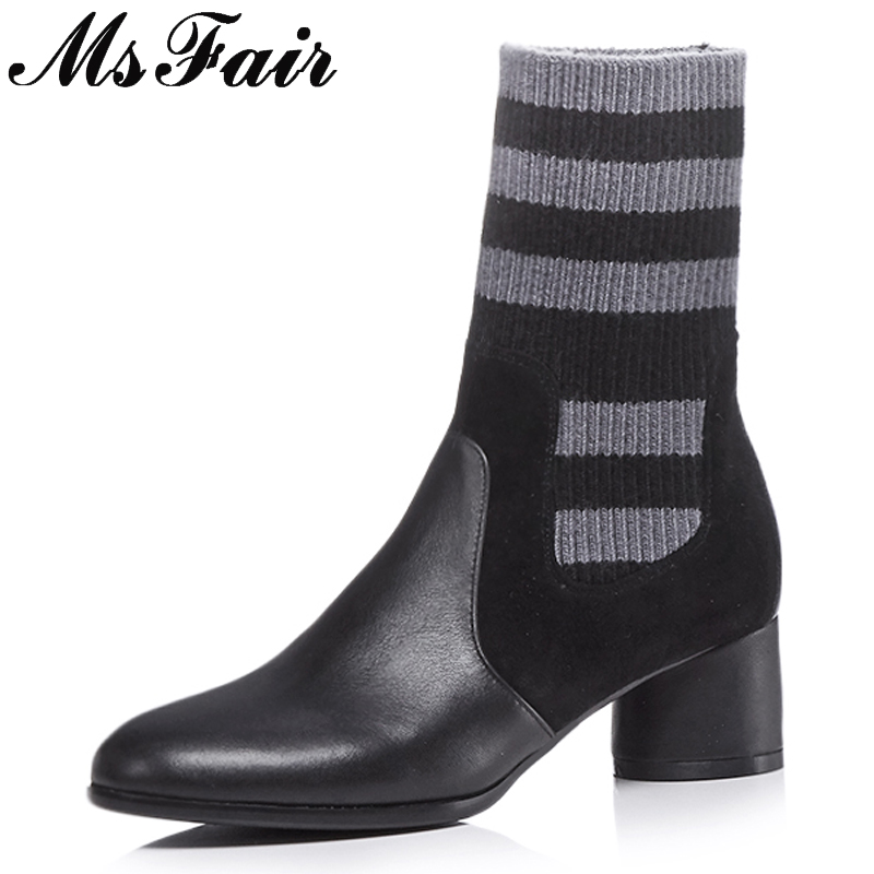 MSFAIR Round Toe Med Heel Women Boots Fashion Square heel Concise Mid-Calf Boots Women Shoes Sexy Black Slip-On Boots Women цены
