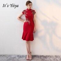It's Yiiya 2018 Red Elegant Slim Evening Dresses Party Embroidery Floral Prints Mermaid Formal Dress Prom Dresses LX386