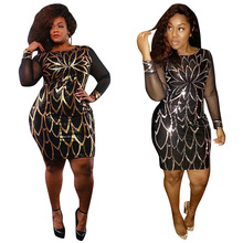 Fashion Sequin Sexy Women Club Mini Dress Elegant Christmas Party Dress See Through Black Mesh Sleeves Plus Size 2XL Dress CM254