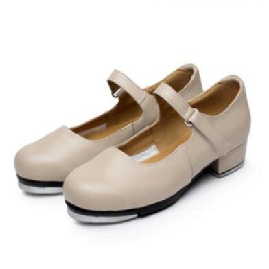 New Arrival Cowhide Lær Kvinners Tap Dance Shoes 3CM Heel Girls Dance Sneakers Størrelse EU33-EU41