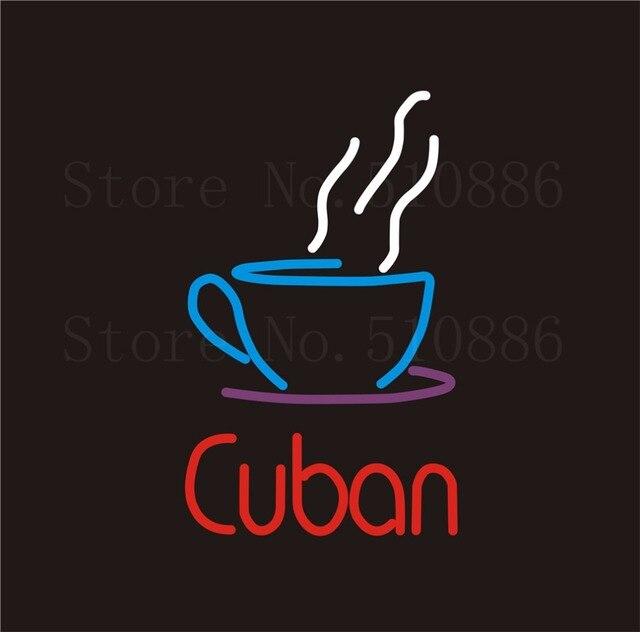 """Leuchtreklame Kubanischen Real Glasrohr Katze kot kaffee Trinken Bar PUB Restaurant Schild Display Shop Shop Licht Benutzerdefinierte Zeichen 17*14"""""""