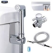 Туалет ручной Биде опрыскиватель комплект латунь хромированный ванная комната биде кран спрей душевая головка со шлангом и Т-адаптер и держатель