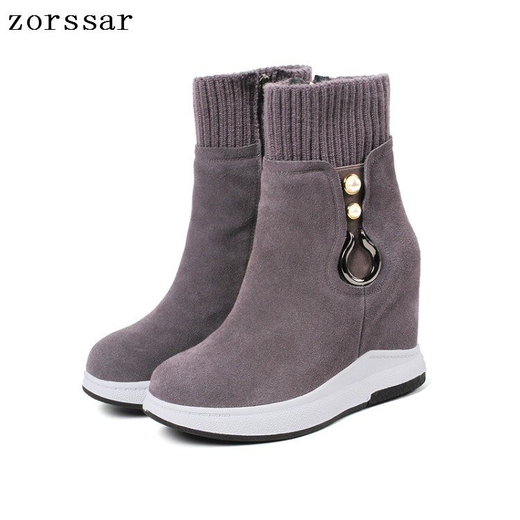 {Zorssar} Fashion womens winter boots suede Leather height increasing boots women high heel ankle boots Platform wedges shoes zorssar 2017 new winter female shoes suede platform height increasing ankle snow boots fashion buckle high heels women boots