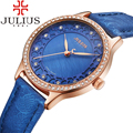 2017 Julius Luxury Brand Watches Women Crystal Rhinestone Ladies Quartz Wristwatches Leather Strap Montre Femme Reloj Mujer Gift